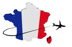 France map flag with plane and swoosh illustration Royalty Free Stock Photography