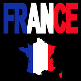 France map and flag text Royalty Free Stock Image