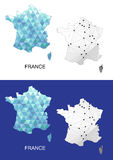 France map in geometric polygonal style. Abstract gems triangle. Royalty Free Stock Image