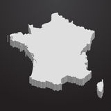 France map in gray on a black background 3d Royalty Free Stock Images