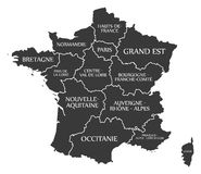 France Map labelled black. France Map with details labelled black Royalty Free Stock Photos