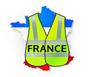 France map in national flag colors with yellow jacket on it, symbol of manifestations vector illustration
