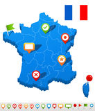 France map and navigation icons - vector Illustration. Royalty Free Stock Photos