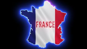 France map with neon light. Creative outline of French royalty free illustration