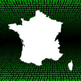 France map over binary code Royalty Free Stock Photos