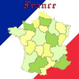 France map over national colors Stock Photo