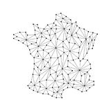 France map of polygonal mosaic lines, rays, dots vector illustration. Stock Photos