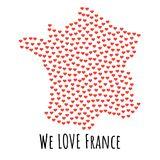 France Map with red hearts - symbol of love. abstract background. France Map with red hearts- symbol of love. abstract background with text We Love France Stock Images