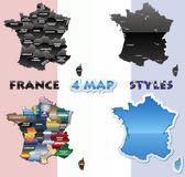 France map set Royalty Free Stock Photos