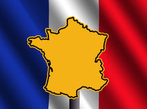 France map sign with flag. France map sign and rippled French flag illustration Stock Image