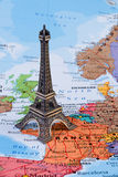 France map, eiffel tower, travel concept image. Eiffel tower on France map, concept image - travelling Royalty Free Stock Images