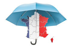 France map under umbrella. Security and protect or insurance con. Cept, 3D rendering isolated on white background Stock Image