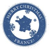 France map. Vintage Merry Christmas France Stamp. Stock Photos