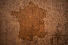 France map on vintage paper background Royalty Free Stock Images