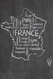 France map and words cloud. With larger cities Royalty Free Stock Photo