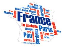 France Map and Cities royalty free stock images