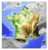 France, mapa de relevo Fotografia de Stock Royalty Free