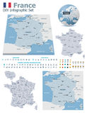 France maps with markers. Set of the political France maps, markers and symbols for infographic Royalty Free Stock Image