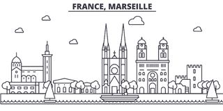 France, Marseille architecture line skyline illustration. Linear vector cityscape with famous landmarks, city sights. Design icons. Editable strokes Stock Photo