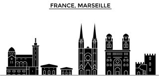 France, Marseille architecture vector city skyline, travel cityscape with landmarks, buildings, isolated sights on. France, Marseille architecture vector city Royalty Free Stock Photo
