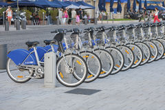 FRANCE, MARSEILLE - AUGUST 6, 2013: Bikes for rent in the port o Stock Photo