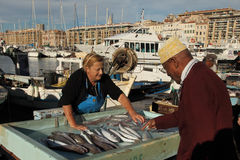 France, Marseille -November 19, 2015: The buyer at the fish mark Stock Photo