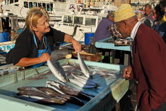FRANCE, MARSEILLE -November 19, 2015: The buyer at the fish market Royalty Free Stock Photography