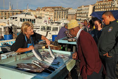 FRANCE, MARSEILLE -October 19, 2015: The buyer at the fish market Royalty Free Stock Image