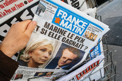 France Matin with Emmanuel Macron and Marine Le Pen on cover Stock Photography