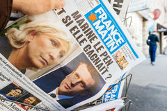 France Matin with Emmanuel Macron and Marine Le Pen on cover Stock Images