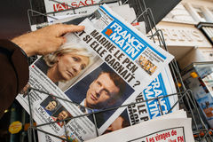 France Matin with Emmanuel Macron and Marine Le Pen on cover Stock Image