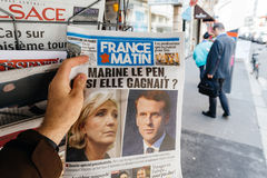 France Matin with Emmanuel Macron and Marine Le Pen on cover Stock Photos