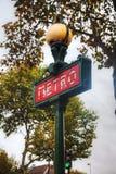 france metroparis tecken Royaltyfri Bild