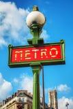 france metroparis tecken Arkivbild