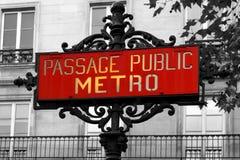 france metroparis tecken Fotografering för Bildbyråer