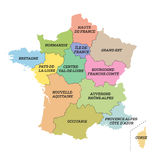 France metropolitan map with new regions Royalty Free Stock Photo