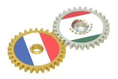 France and Mexico flags on a gears, 3D rendering Royalty Free Stock Image