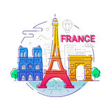 France - modern vector line travel illustration. Have a trip, enjoy your french vacation. Landmark image. An unusual composition with the Eiffel tower, notre Royalty Free Stock Image