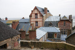 france Mont Saint-Michel i vintern Fotografering för Bildbyråer