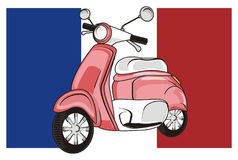 France and moped. Pink moped with large france flag Royalty Free Stock Image