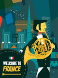France music night poster Royalty Free Stock Photography