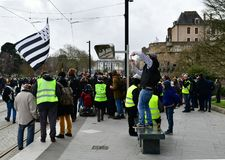 France, Nantes - February 9, 2019: Protest action of the `yellow vests` on the Allée du Port Maillard stock images