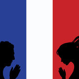 France national flag. People man and woman hands pray for Nice. World support for France.  Royalty Free Stock Photography
