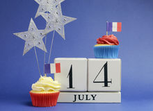 France National holiday calendar, 14 July, Fourteenth of July, Bastille Day. With flags , cakes and stars decorations Royalty Free Stock Photos