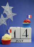 France National holiday calendar, 14 July, Fourteenth of July, Bastille Day - vertical. Royalty Free Stock Image