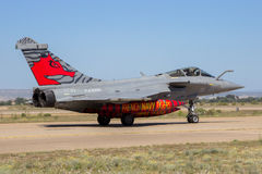 France Navy Dassault Rafale fighter jet airplane. ZARAGOZA, SPAIN - MAY 20,2016: Special painted French Navy Dassault Rafale fighter jet plane taxiing after Stock Image