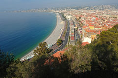 France, Nice: French Riviera. France, Nice: The French Riviera famous places. View of the Promenade des Anglais from the castle Stock Photo