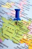 France no mapa Foto de Stock