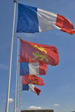 France and normandy flags. French and normandy flags on caen's castle Stock Photography