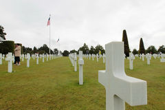 France, Normandy, June 6, 2011 - Graves of soldiers who died during the military operation in 1944 in Normandy. Royalty Free Stock Image